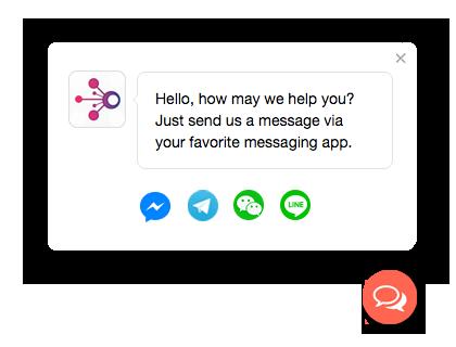 Message us button for Facebook Messenger, WhatsApp, WeChat